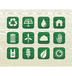 Environmental green icons in organic wood vector