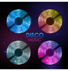 Set of neon disco records vector
