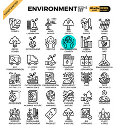 Environment eco concept detailed line icons vector