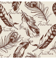 Vintage feather seamless pattern vector