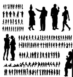 Adult people silhouettes collection vector image