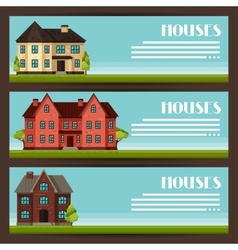 Town horizontal banners design with cottages and vector
