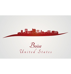 Boise skyline in red vector
