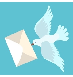 White carrier pigeon brings a letter vector