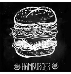 Gourmet cheeseburger or hamburger vector