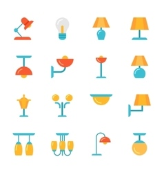 Icon set of lamps modern flat style vector