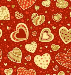 Seamless red and gold romantic pattern vector