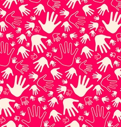 Seamless Palm Hands on Pink Retro Background vector image