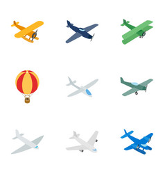 Air transport vehicles icons isometric 3d style vector