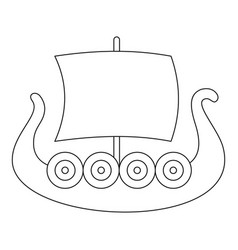 Ancient boat icon outline style vector