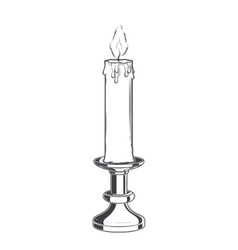 Burning old candle and vintage candlestick vector image vector image