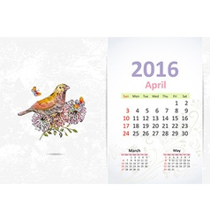 Calendar for 2016 april vector image vector image