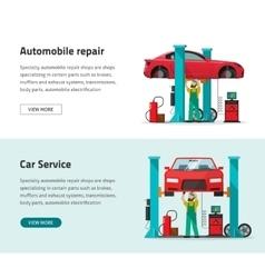 Car repair shop station banner repairman vector