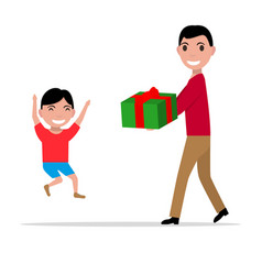 cartoon father giving her son a present vector image