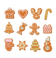 Christmas gingerbread cookies set hand drawn vector