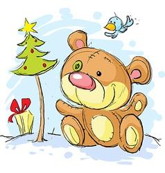 Christmas postcard with bear and christmas tree vector