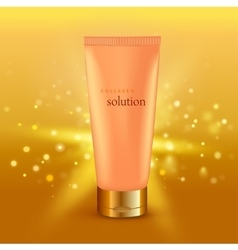Collagen solution intensive cream tube gold vector