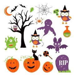 Cute colorful halloween elements collection vector