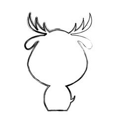 Cute deer silhouette isolated icon vector