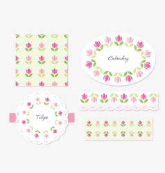 Embroidery floral decorative elements set vector