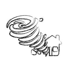 Figure tornado taking and destruction a house vector
