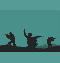 Four soldiers on a background a sun vector
