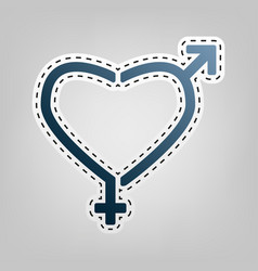 Gender signs in heart shape blue icon vector