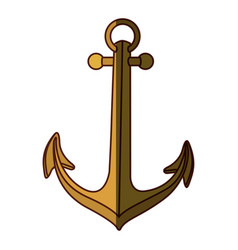 Gold silhouette of anchor icon design with middle vector