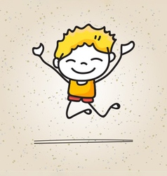hand drawing cartoons concept happy boys vector image vector image