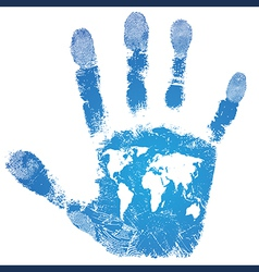 Hand world map print sign people support vector image vector image