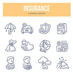Insurance doodle icons vector