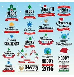 Merry christmas and happy new year typographic bac vector