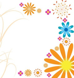 Mod flowers hot orange vector