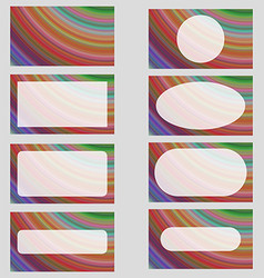 Multicolored fractal art business card design set vector