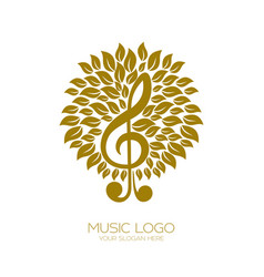Music logo flourishing treble clef vector
