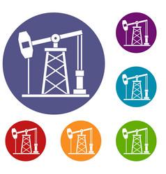 Oil derrick icons set vector