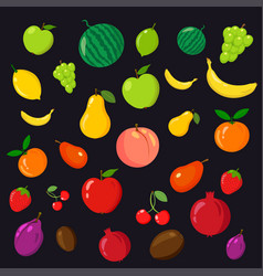 rainbow of fruits on the black background vector image vector image