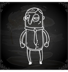Scheming man drawing on chalk board vector