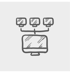 Screen with cameras sketch icon vector