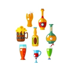set of flat beer icons bottles and glasses vector image vector image