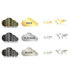 Set with gold silver and platinum vector