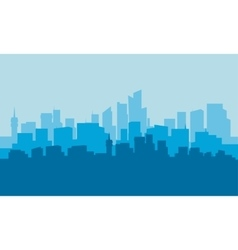 silhouette of city with blue background vector image vector image