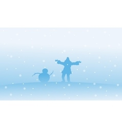 Silhouette of santa and snowman christmas vector