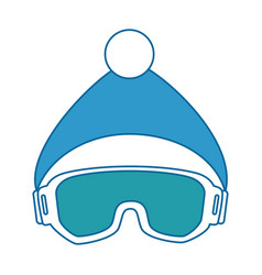 Ski googles and hat vector