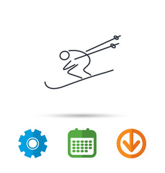 Skiing icon skis jumping extreme sport sign vector
