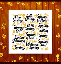 Spring greeting calligraphy vector