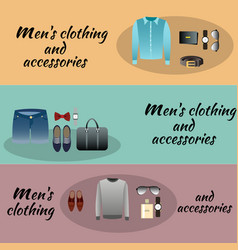three colored men accessories with men clothing vector image vector image