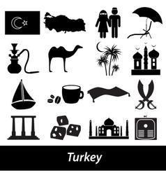 Turkey country theme symbols icons set eps10 vector