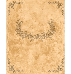 Vintage floral frame on old paper sheet vector image vector image