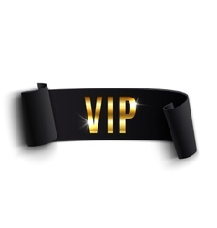 VIP black curved ribbon isolated on white vector image